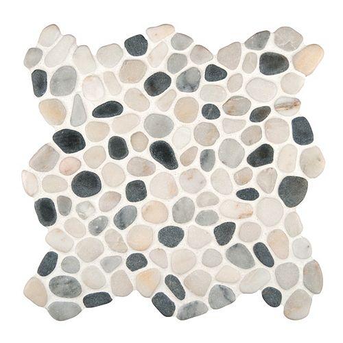 MSI Stone ULC Carr. de mosaïque de galets de marbre Black/White Pebbles sur filet de 11,42 x 11,42 po x 10 mm