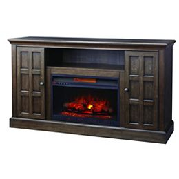 Olivehurst 60 Inch Fireplace Console In Brown Twilight Gray Finish