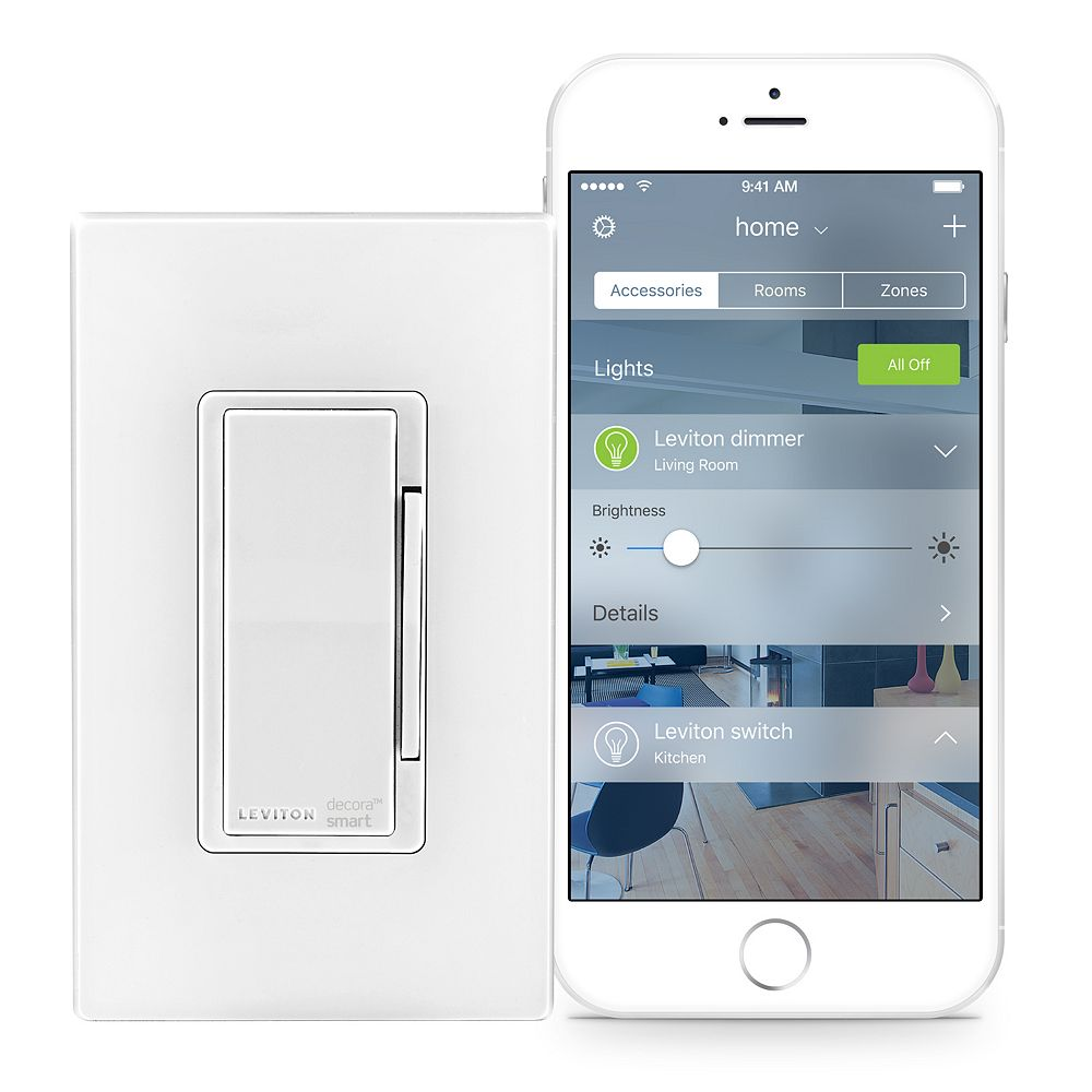 Leviton Dimmer with HomeKit Technology in White (Screwless Wallplate Included)