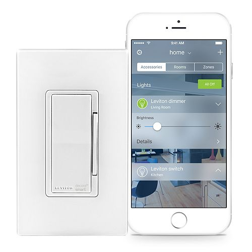Dimmer with HomeKit Technology in White (Screwless Wallplate Included)