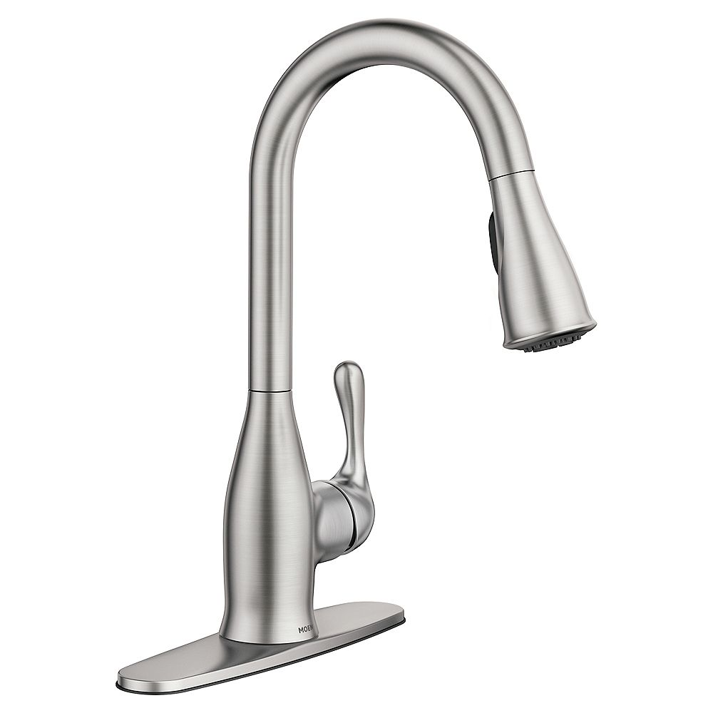 Moen Kaden Single Handle Pull Down Sprayer Kitchen Faucet With Reflex And Power Clean In S The Home Depot Canada