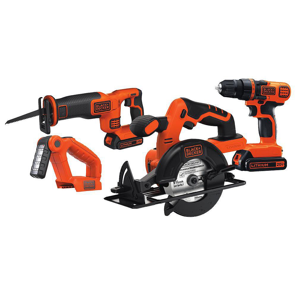BLACK+DECKER 20V MAX Lithium-Ion Cordless Combo Kit (4-Tool) with (2) Batteries 1.5Ah and Charger