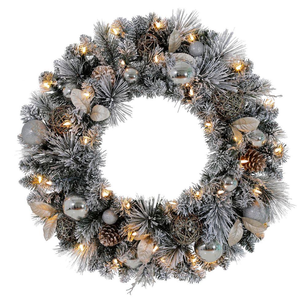 30-inch LED Pre-Lit Meadow Frost Wreath