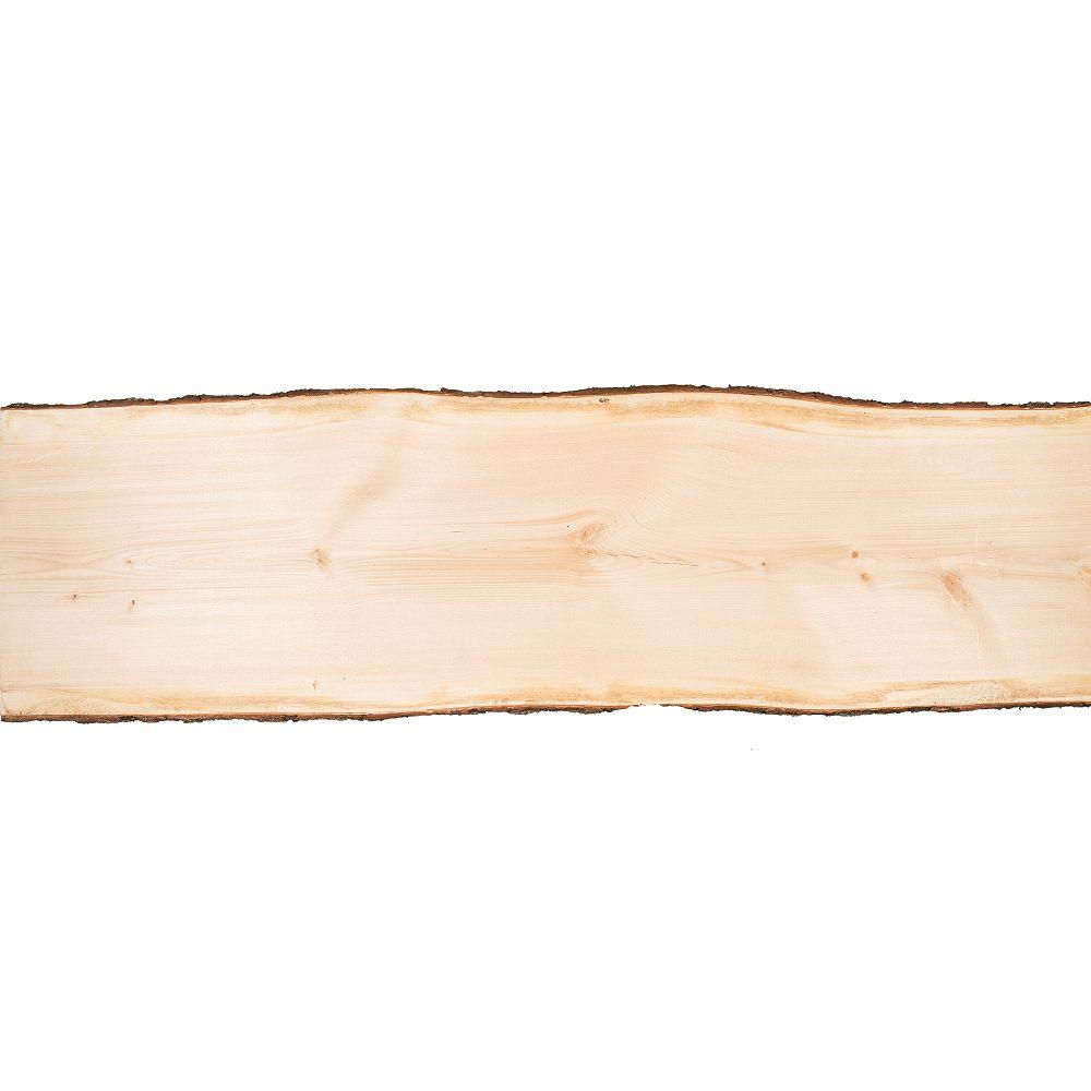 Live Edge Dalle de pin de 4 pi (19 po à 24 po de largeur)