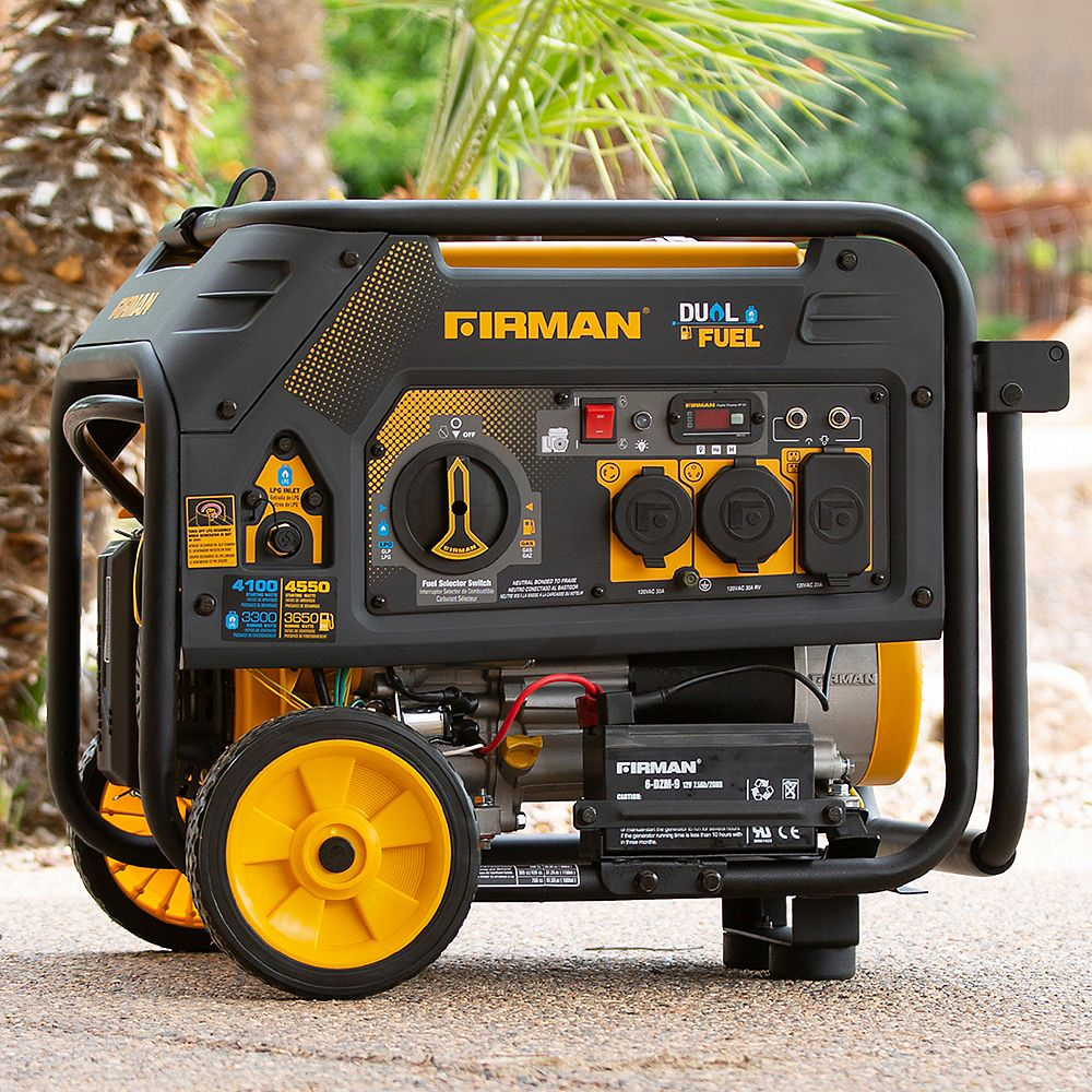 FIRMAN 4550/3650: GAS 4100/3300: LPG Watt Electric Start Gas or Propane Dual Fuel Generator CARB and cETL Certified