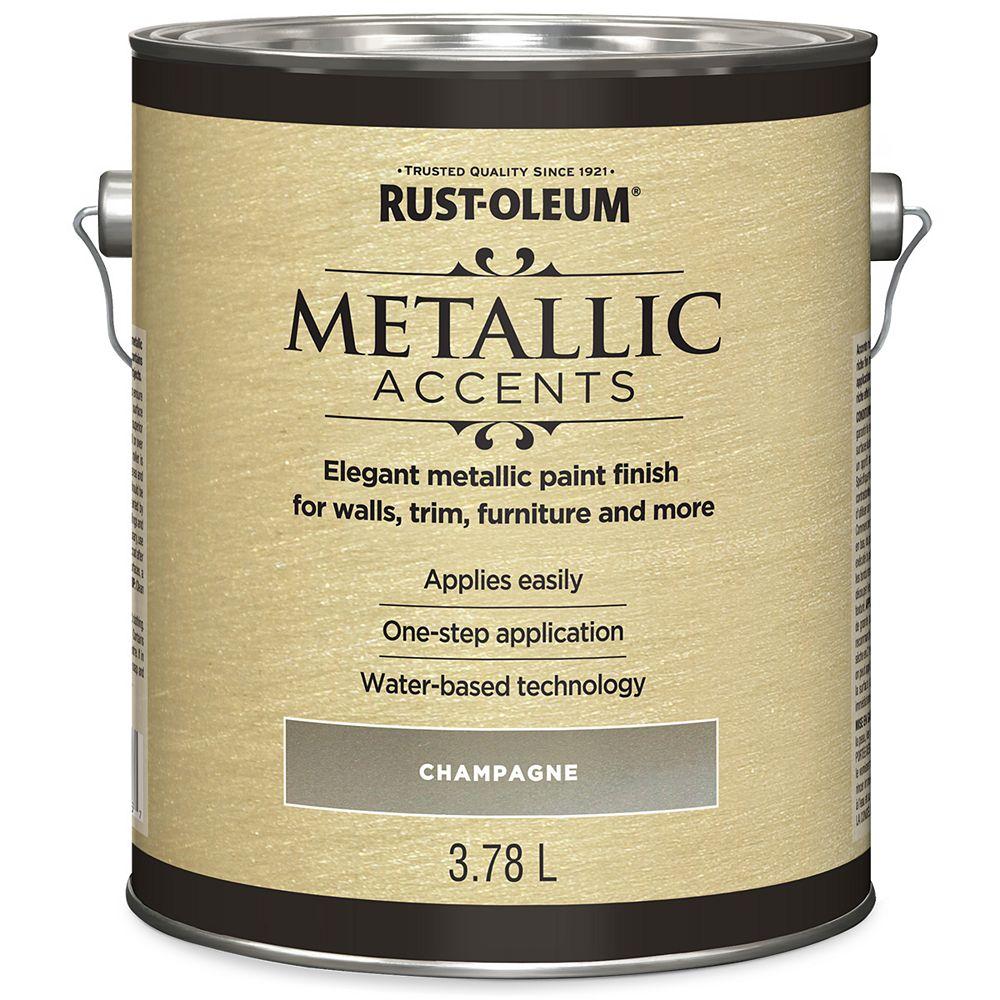 Rust-Oleum Metallic Accents Water Based Metallic Finish in Champagne, 3.7 L
