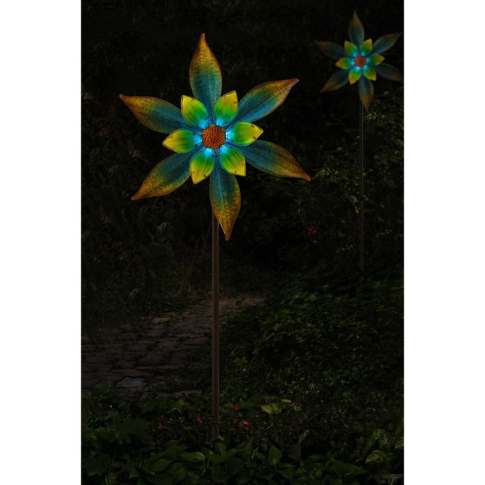 """Sunjoy 69 """"pieu de jardin en verre et métal, multi couleurs"""