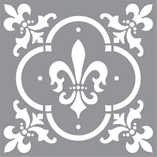 Stencil 12 inch x 12 inch Fleur de de Lis Tile