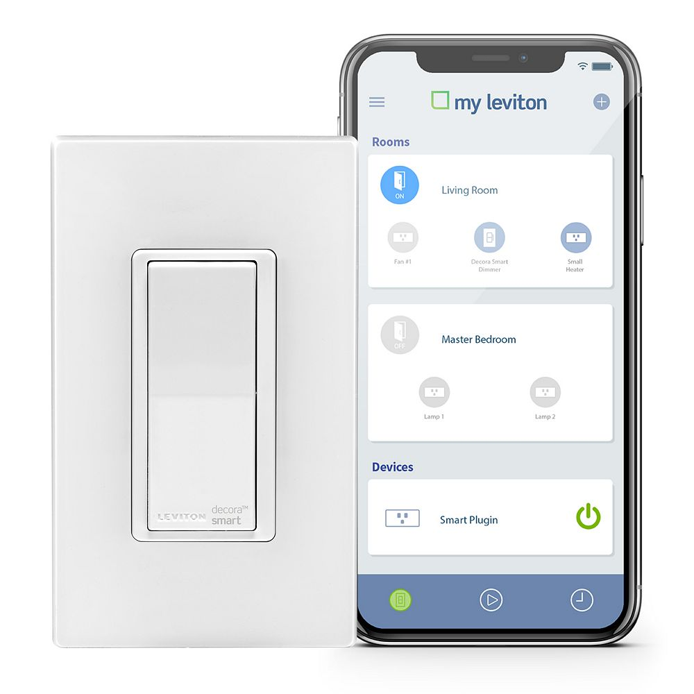 Leviton Switch with Wi-Fi Technology in White (Screwless Wallplate Included)