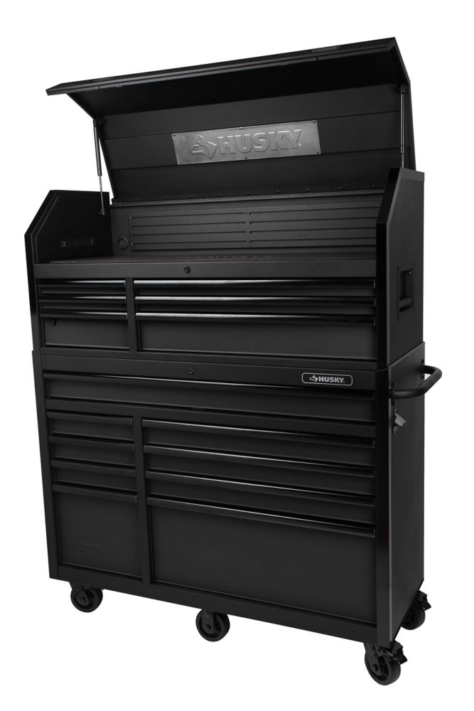 12-inch W 12-inch D 12-Drawer Tool Storage Chest and Cabinet in Textured  Black