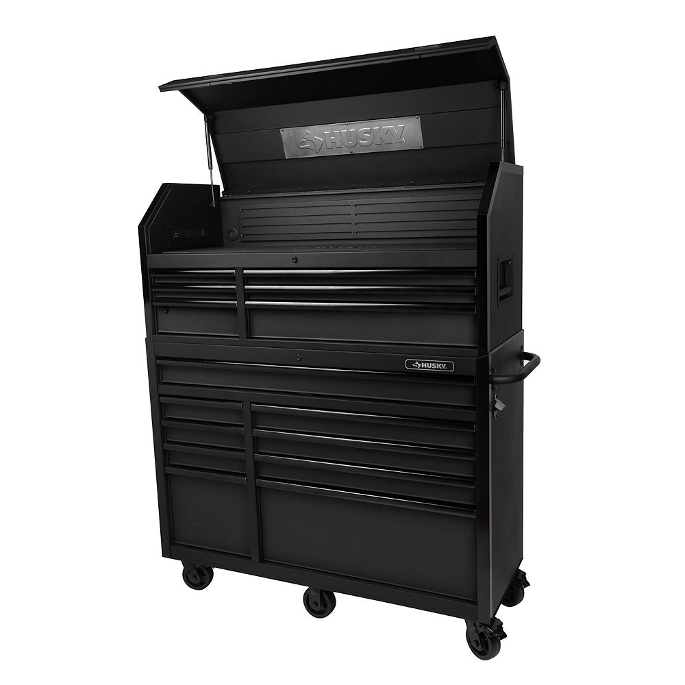Husky 52-inch W 20-inch D 15-Drawer Tool Storage Chest and Cabinet in Textured Black