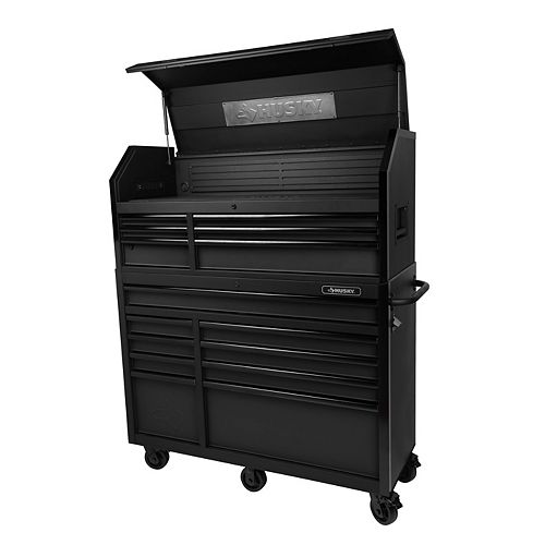 52-inch W 20-inch D 15-Drawer Tool Storage Chest and Cabinet in Textured Black