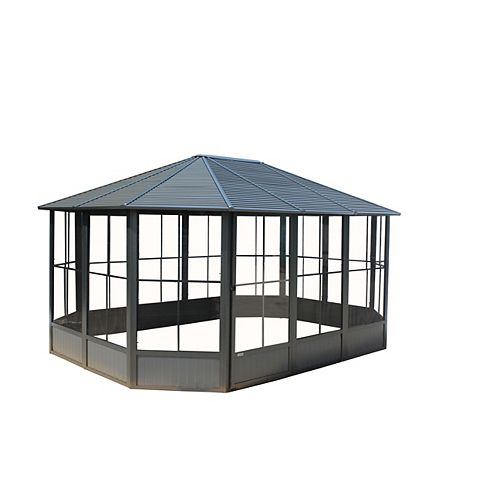 Korado 12 ft. x 15 ft. Octagonal Solarium in Charcoal