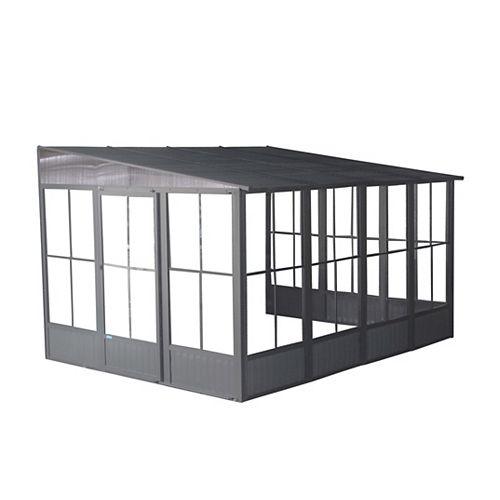 Korado 10 ft. x 16 ft. Wall-Mounted Solarium in Charcoal