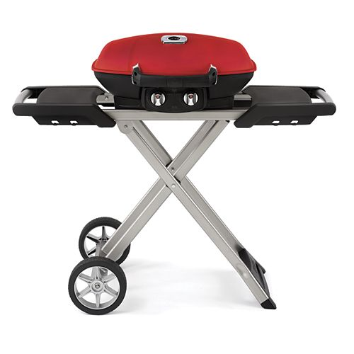 PRO TravelQ Portable BBQ with Scissor Cart in Red