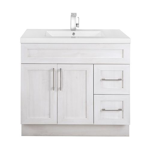 Fogo Harbour 36-inch W 2-Drawer 2-Door Freestanding Vanity in Off-White With Acrylic Top in White