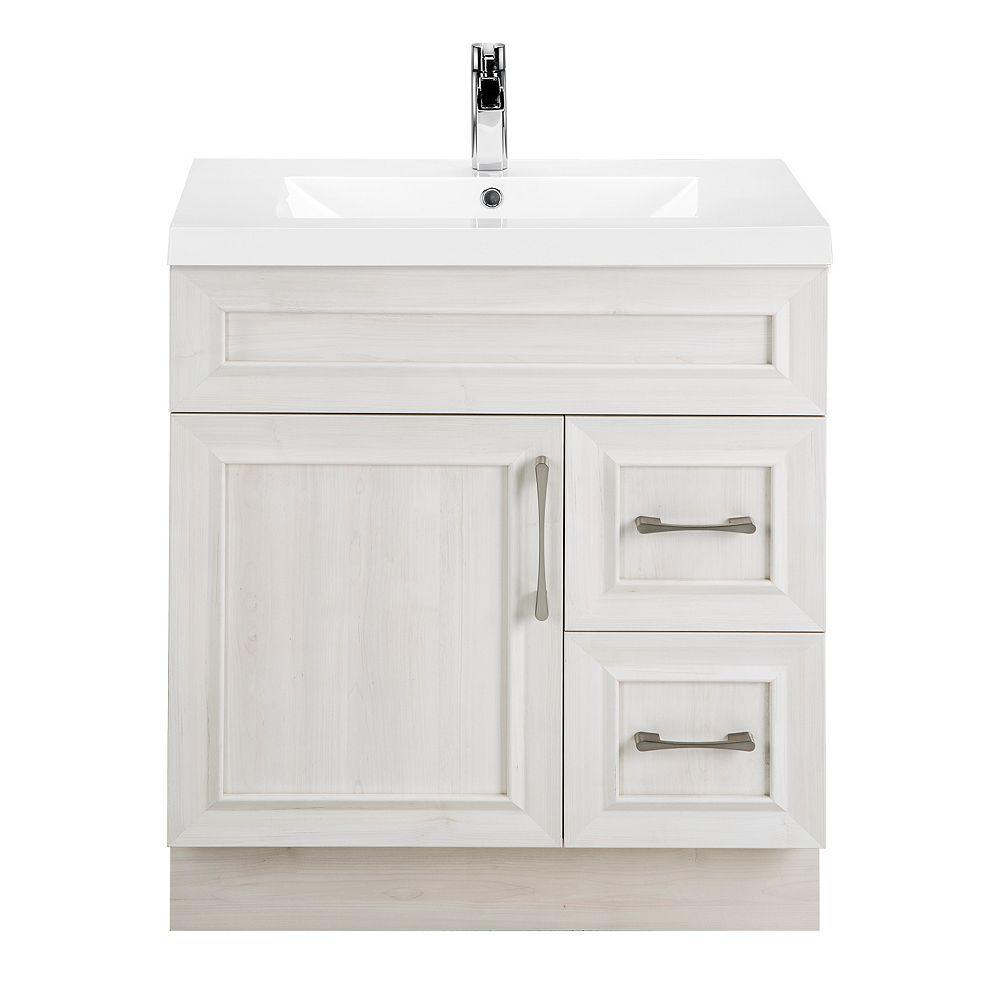 Cutler Kitchen & Bath Meuble-lavabo Fogo Harbour, style Transitional, 76,2 cm (30 po), 1 porte, 2 tiroirs à droite