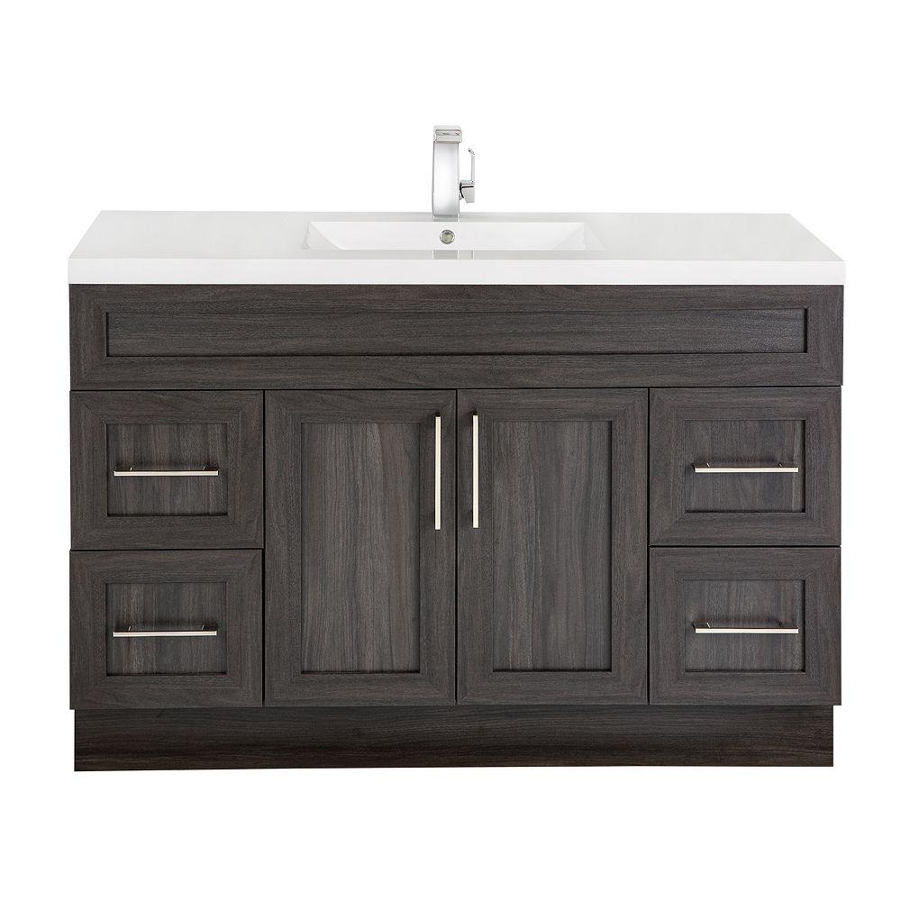 Cutler Kitchen & Bath Meuble-lavabo Karoo Ash, style Shaker, 122 cm (48 po), 2 portes, 4 tiroirs