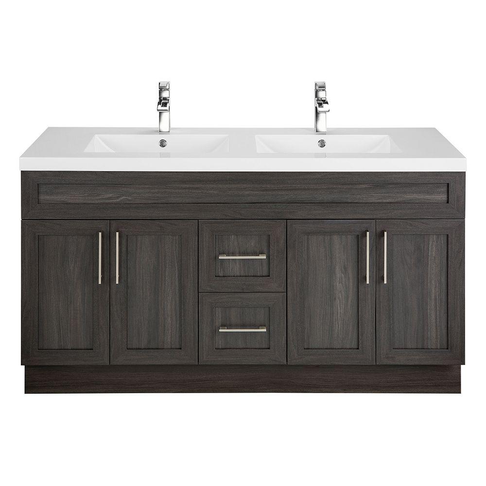 Cutler Kitchen & Bath Meuble-lavabo Karoo Ash, style Shaker, 152,4 cm (60 po), 4 portes, 2 tiroirs