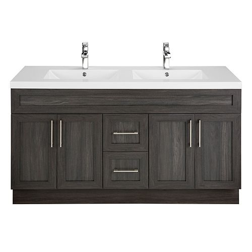 Karoo Ash 60-inch W 2-Drawer 4-Door Vanity in Brown With Acrylic Top in White, Double Basins