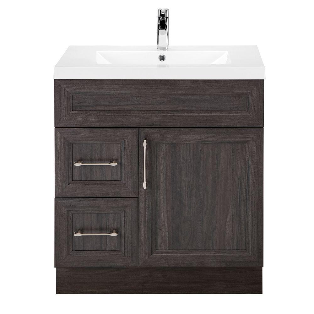 Cutler Kitchen & Bath Meuble-lavabo Karoo Ash, style Bevel Shaker, 76,2 cm (30 po), 1 porte, 2 tiroirs à gauche