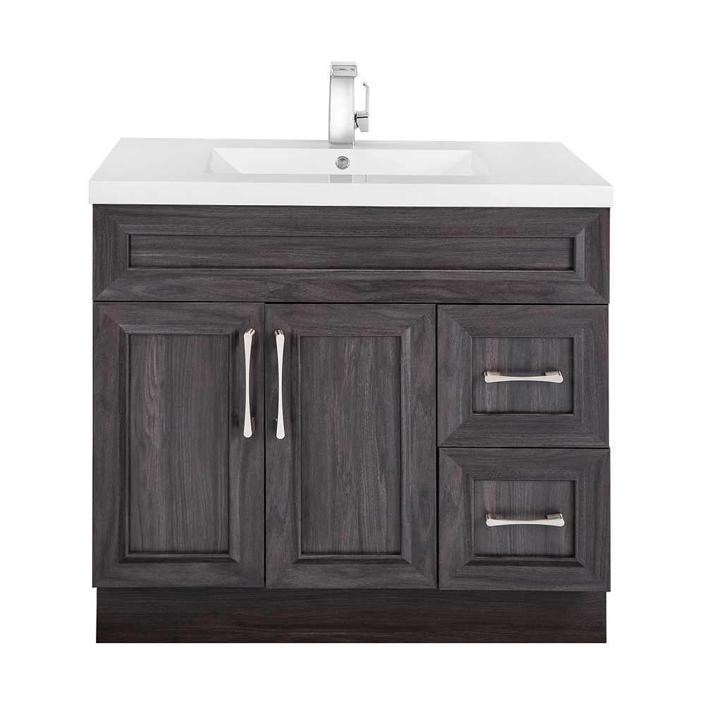 Cutler Kitchen & Bath Karoo Ash 36-inch W 2-Drawer 2-Door Freestanding Vanity in Brown With Acrylic Top in White