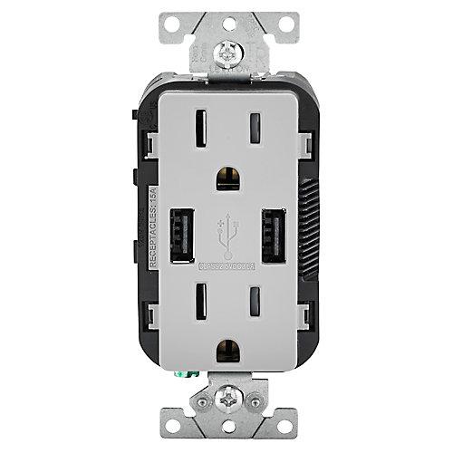 Chargeur USB et prise double combinés