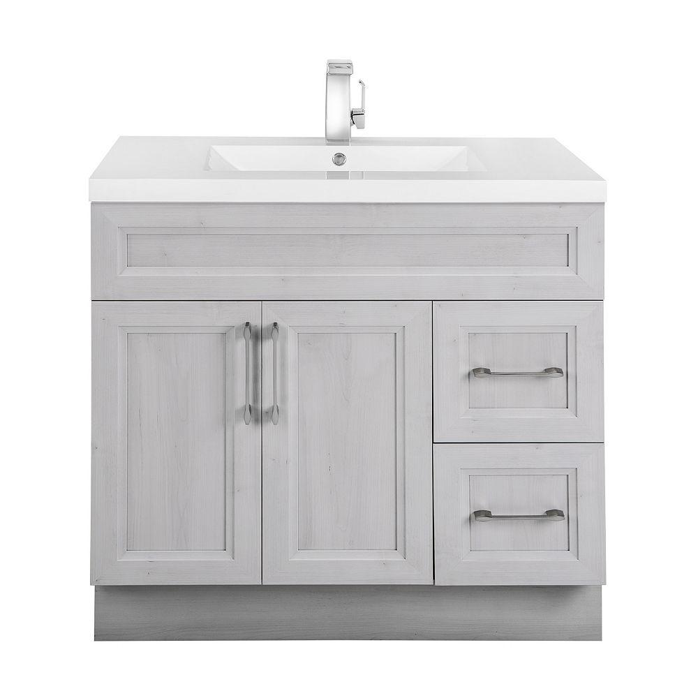 Cutler Kitchen & Bath Meuble-lavabo Meadows Cove, style Bevel Shaker, 91,4 cm (36 po), 2 portes, 2 tiroirs à droite