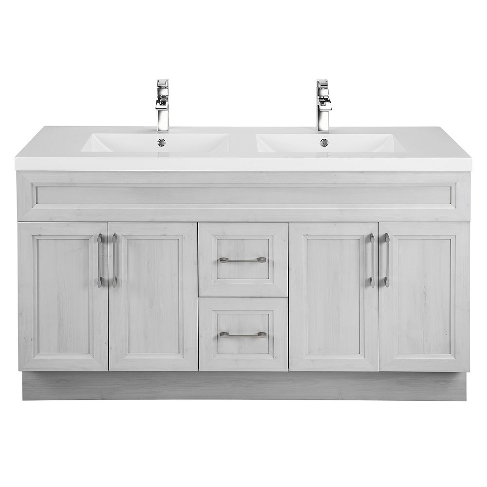Cutler Kitchen & Bath Veil of Mist 60-inch W 2-Drawer 4-Door Vanity in Off-White With Acrylic Top in White, Double Basins