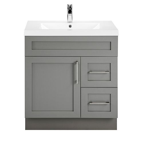 Cutler Kitchen & Bath Fossil 30-inch W 2-Drawer 1-Door Freestanding Vanity in Grey With Acrylic Top in White