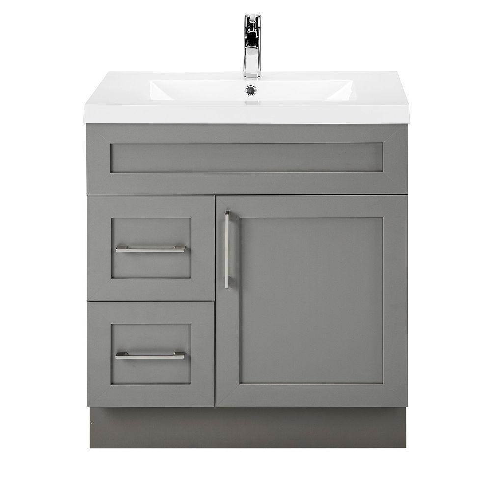 Cutler Kitchen & Bath Meuble-lavabo Fogo Harbour, style Shaker, 76,2 cm (30 po), 1 porte, 2 tiroirs à gauche