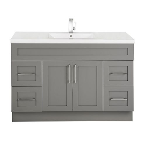 Fossil 48-inch W 4-Drawer 2-Door Freestanding Vanity in Grey With Acrylic Top in White