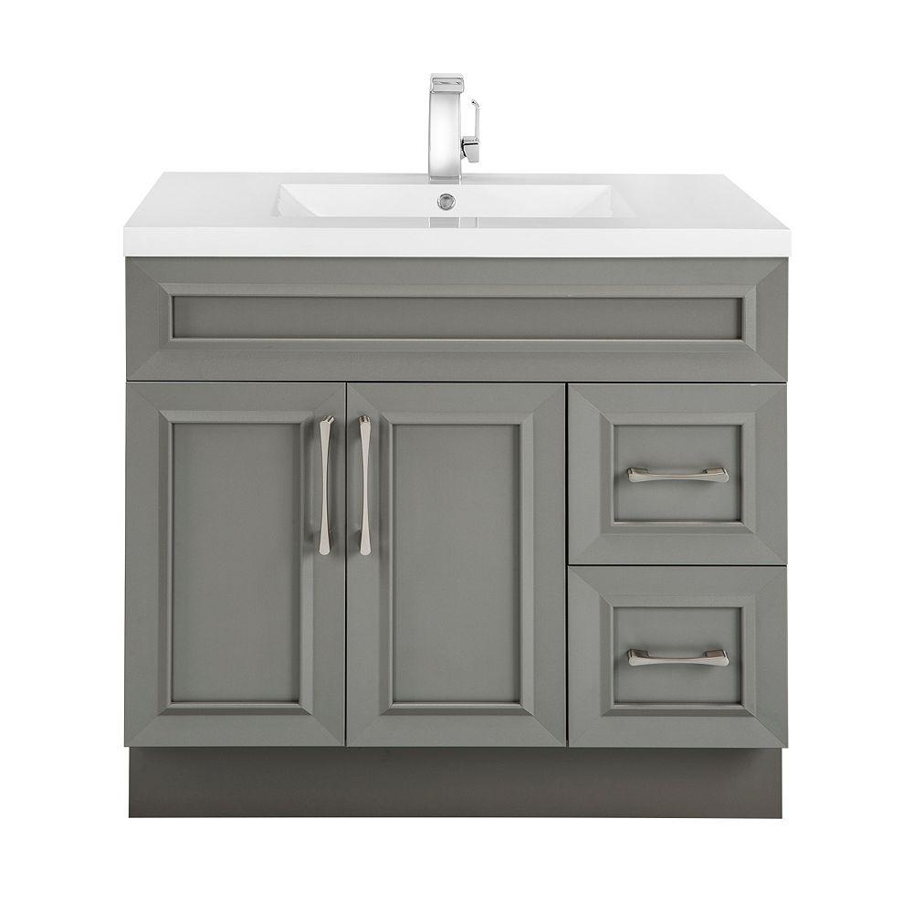 Cutler Kitchen & Bath Meuble-lavabo Fogo Harbour, style Bevel Shaker, 91,4 cm (36 po), 2 portes, 2 tiroirs à droite