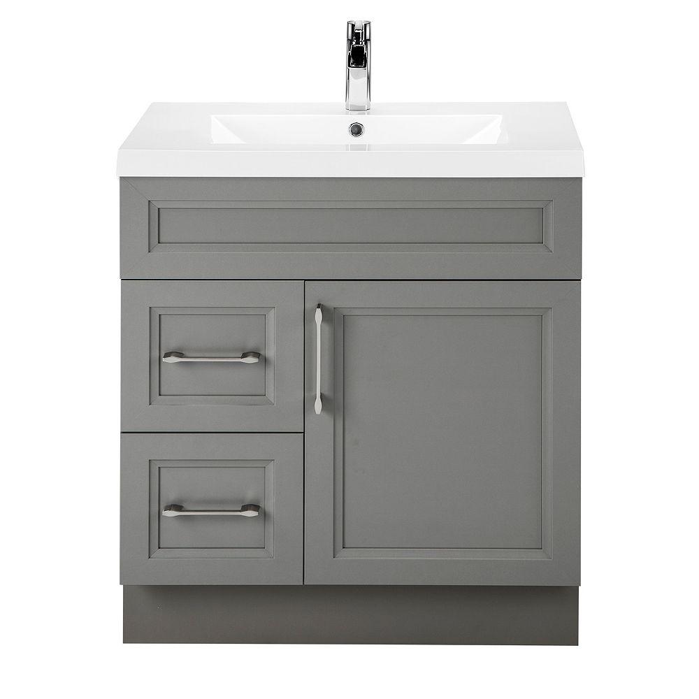 Cutler Kitchen & Bath Meuble-lavabo Fogo Harbour, style Transitional, 76,2 cm (30 po), 1 porte, 2 tiroirs à gauche