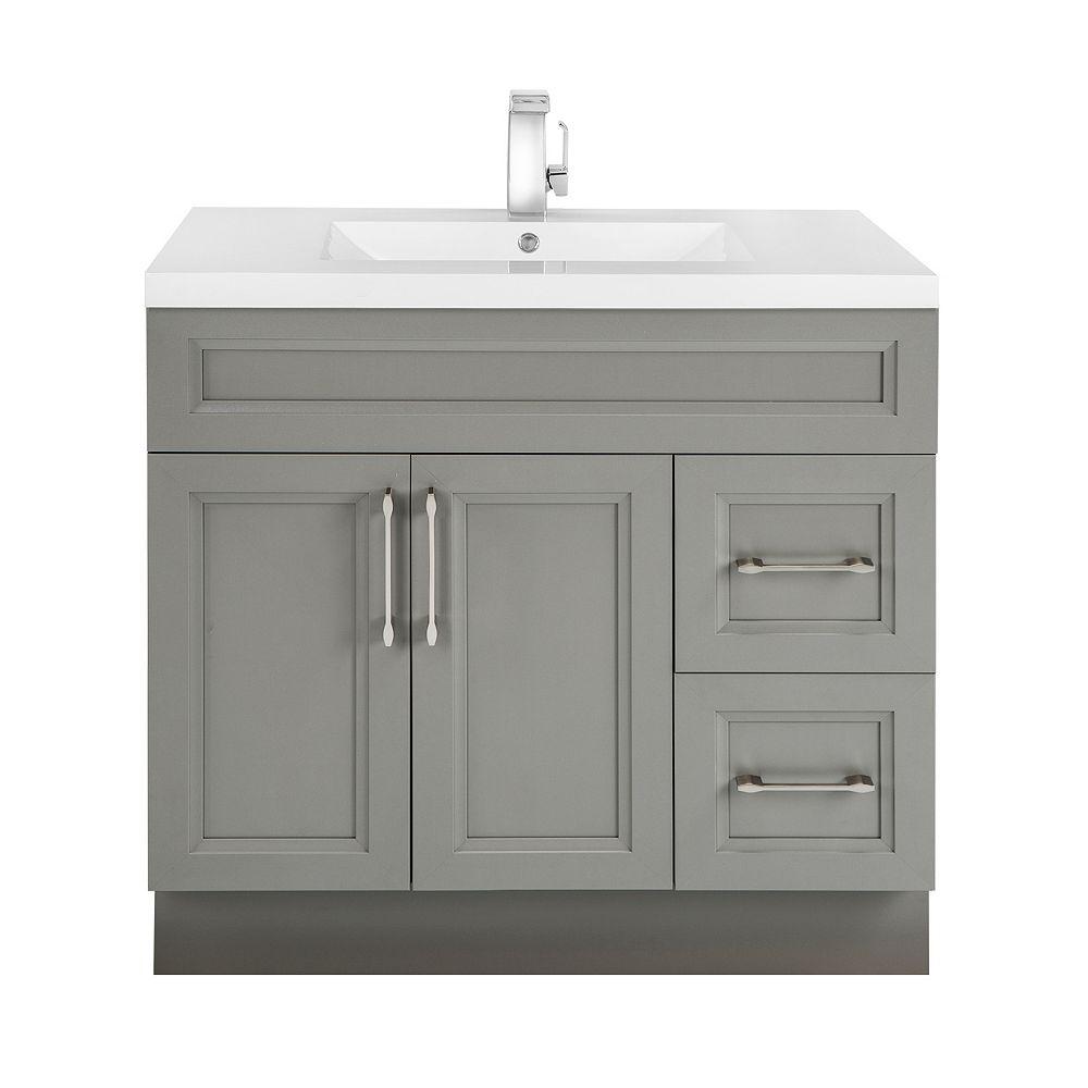 Cutler Kitchen & Bath Meuble-lavabo Fogo Harbour, style Transitional, 91,4 cm (36 po), 2 portes, 2 tiroirs à droite