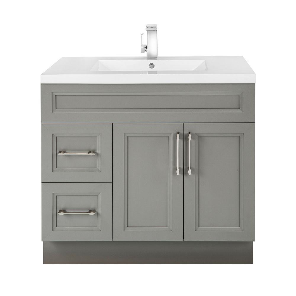 Cutler Kitchen & Bath Fossil 36-inch W 2-Drawer 2-Door Freestanding Vanity in Grey With Acrylic Top in White