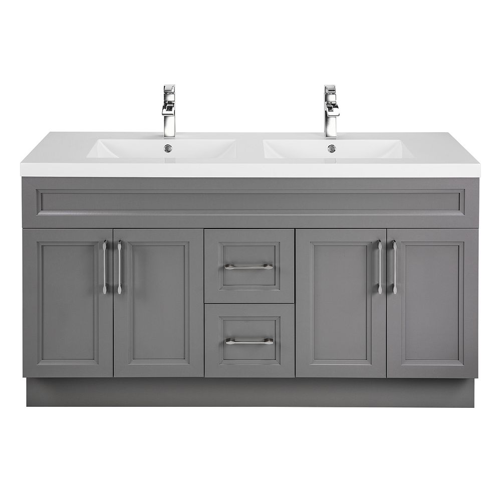 Cutler Kitchen & Bath Fossil 60-inch W 2-Drawer 4-Door Vanity in Grey With Acrylic Top in White, Double Basins
