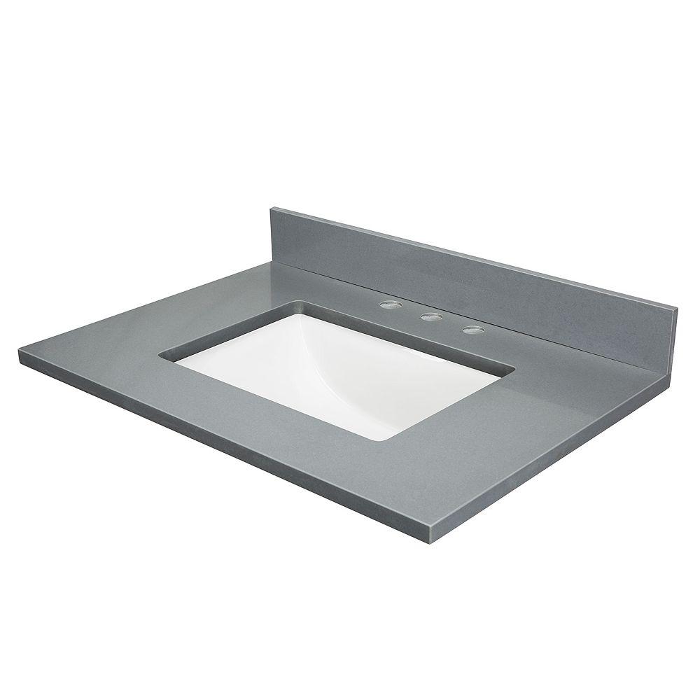 Cutler Kitchen & Bath Quartz gris, entraxe de 20,3 cm (8 po), un lavabo, 78,7 cm (31 po)