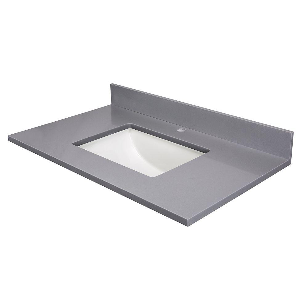 Cutler Kitchen & Bath 37 Inch  Grey Quartz Single Hole Drilling Single Bowl
