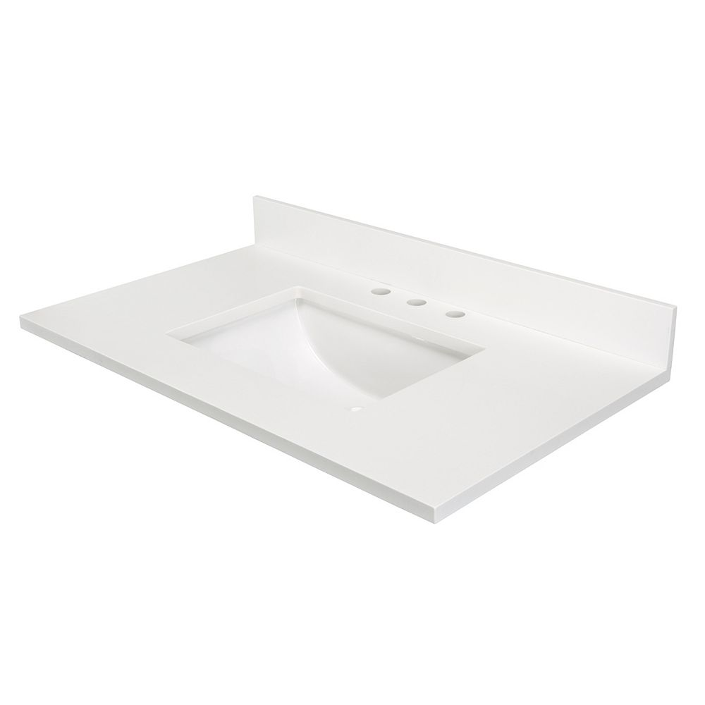 Cutler Kitchen & Bath 37 Inch  White Quartz 4 Inch On Center Drilling Single Bowl