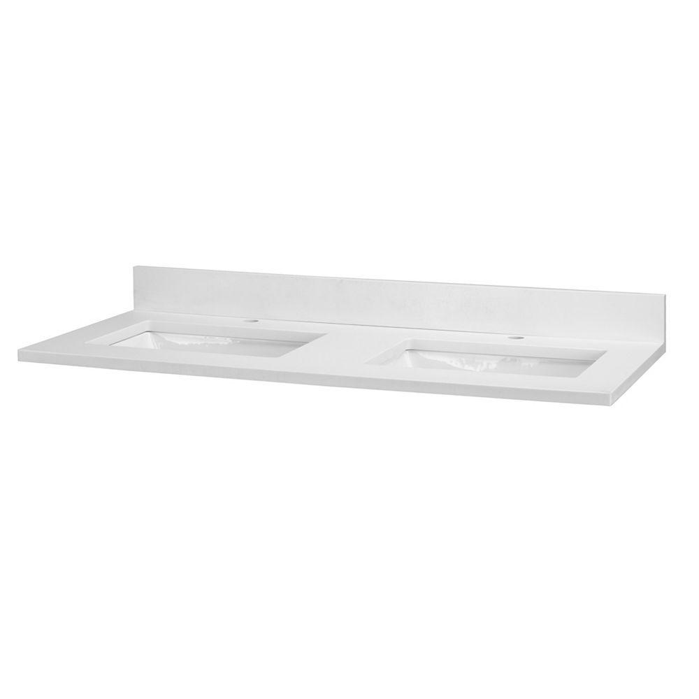 Cutler Kitchen & Bath Quartz blanc, un orifice, deux lavabos, 124,4 cm (49 po)