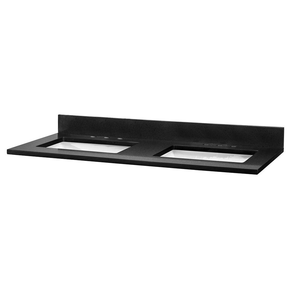 Cutler Kitchen & Bath Quartz noir, entraxe de 20,3 cm (8 po), deux lavabos, 124,4 cm (49 po)