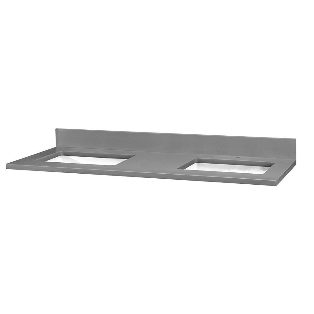 Cutler Kitchen & Bath Quartz gris, un orifice, deux lavabos, 155 cm (61 po)