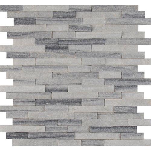 MSI Stone ULC Alaska Grey Split-Face 12-inch x 12-inch Marble Mesh-Mounted Mosaic Tile (10 sq. ft. / case)