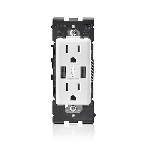 3.6A USB Charger 15A Receptacle (Wallplate not Included) in White
