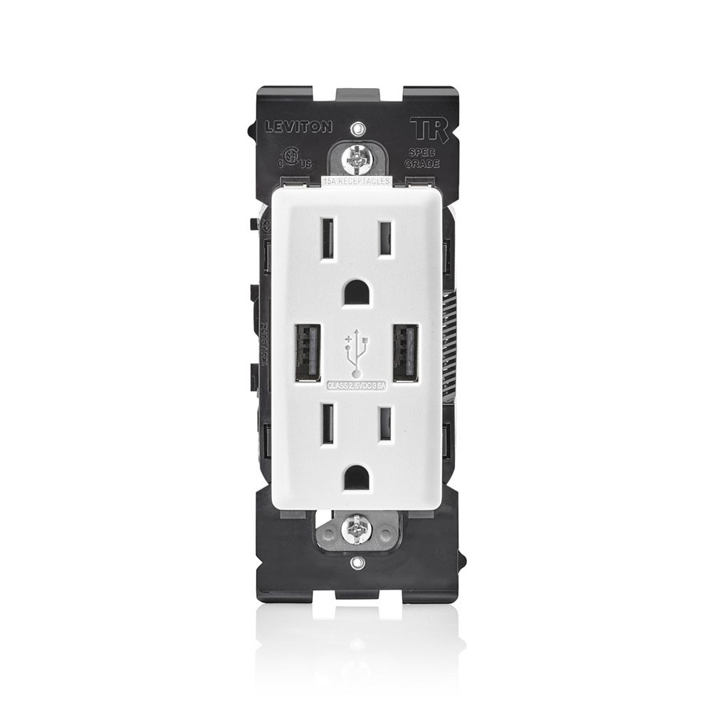Leviton Renu 3 6a Usb Charger 15a Receptacle Wallplate Not Included In White The Home Depot Canada