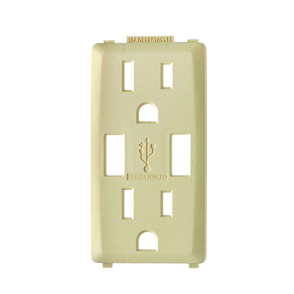 Leviton Face pour chargeur à USB 3,6A et prise Renu 15A (Plaque murale non-incluse) en Blanc Côte d'Or
