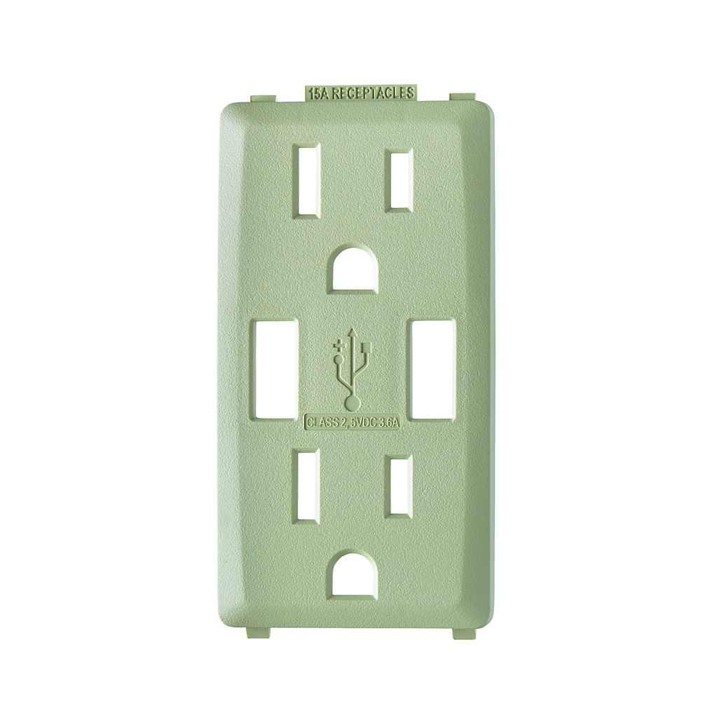 Leviton Renu Face Plate for 3.6A USB Charger/15A Receptacle (Wallplate not Included) in Prairie Sage