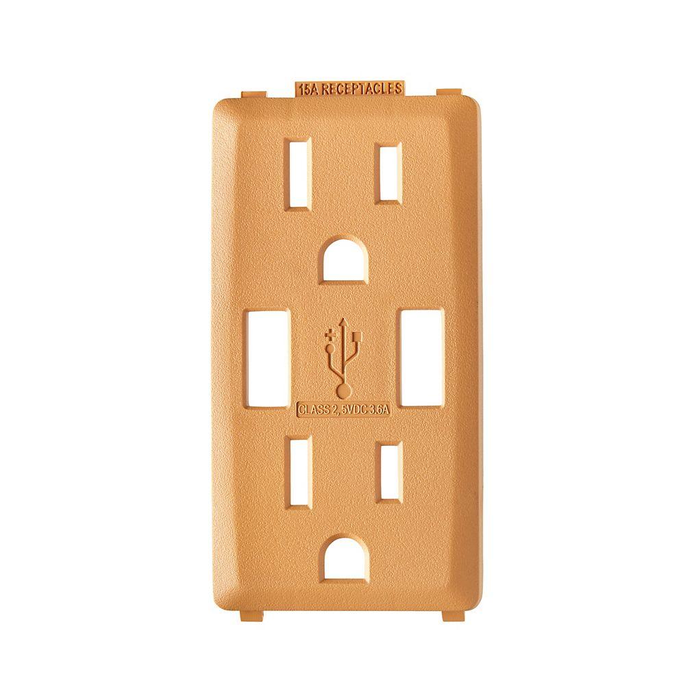 Leviton Face pour chargeur à USB 3,6A et prise Renu 15A (Plaque murale non-incluse) en Coco grillé
