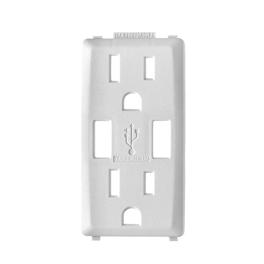 Leviton Renu Decora Face Plate for 3.6A USB Charger/15A Receptacle (Wallplate not Included) in White